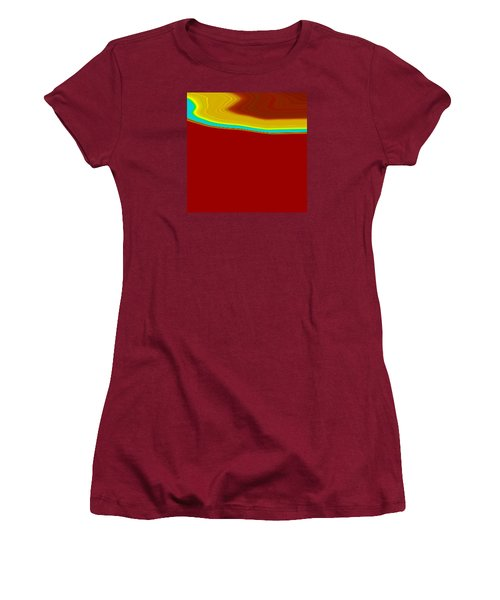 Women's T-Shirt (Junior Cut) featuring the painting Shoreline IIi  C2014 by Paul Ashby