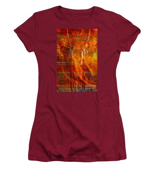Skull On Fire Women's T-Shirt (Athletic Fit)
