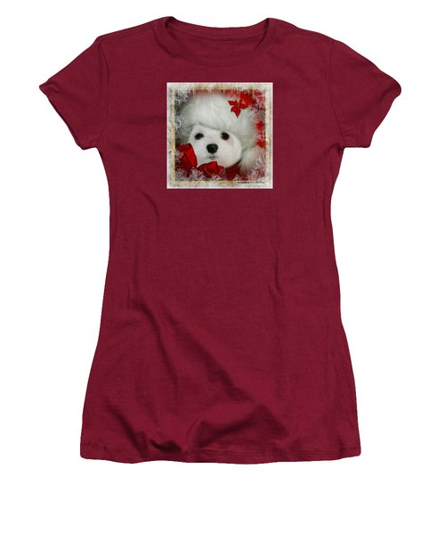Women's T-Shirt (Junior Cut) featuring the mixed media Snowdrop  And  Santa Hat by Morag Bates
