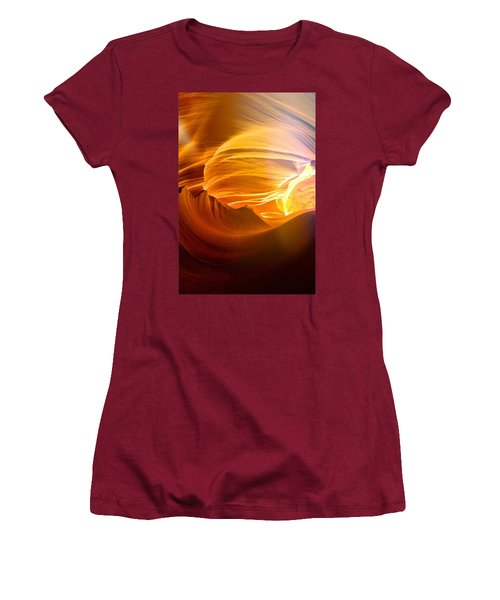 Women's T-Shirt (Junior Cut) featuring the photograph Somewhere In America Series - Gold Colors In Antelope Canyon by Lilia D