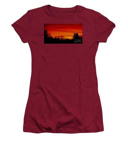 Women's T-Shirt (Junior Cut) featuring the photograph Sunrise Y-town by Angela J Wright