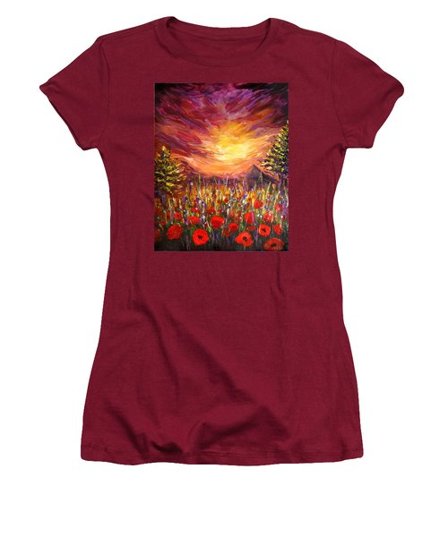 Sunset In Poppy Valley  Women's T-Shirt (Junior Cut) by Lilia D