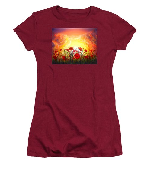 Women's T-Shirt (Junior Cut) featuring the painting Sunset Poppies by Lilia D