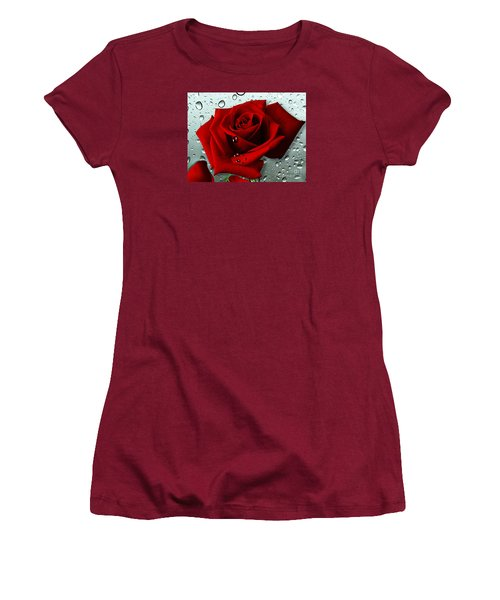 Women's T-Shirt (Junior Cut) featuring the mixed media Tears From My Heart by Morag Bates