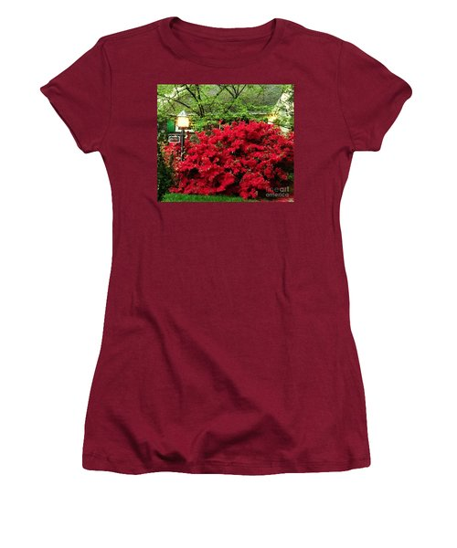 Women's T-Shirt (Junior Cut) featuring the photograph The Light Red Bush Bella by Becky Lupe