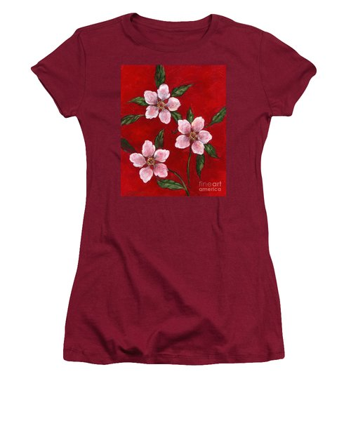 Three Blossoms On Red Women's T-Shirt (Athletic Fit)