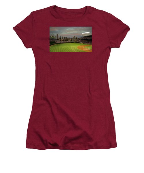 Wrigley Field At Dusk Women's T-Shirt (Athletic Fit)