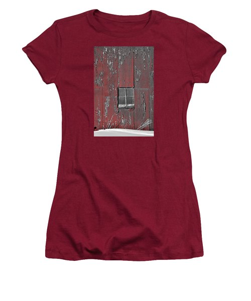 Zink Rd Barn Window Bw Red Women's T-Shirt (Athletic Fit)