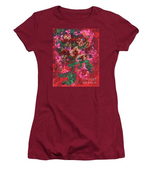 Women's T-Shirt (Junior Cut) featuring the painting My Sister's Garden I by Alys Caviness-Gober