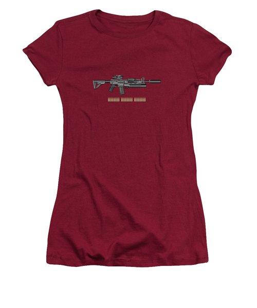 Colt  M 4 A 1  S O P M O D Carbine With 5.56 N A T O Rounds On Red Velvet  Women's T-Shirt (Athletic Fit)