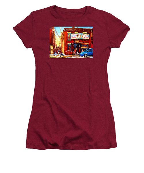 Women's T-Shirt (Junior Cut) featuring the painting Fairmount Bagel In Winter by Carole Spandau