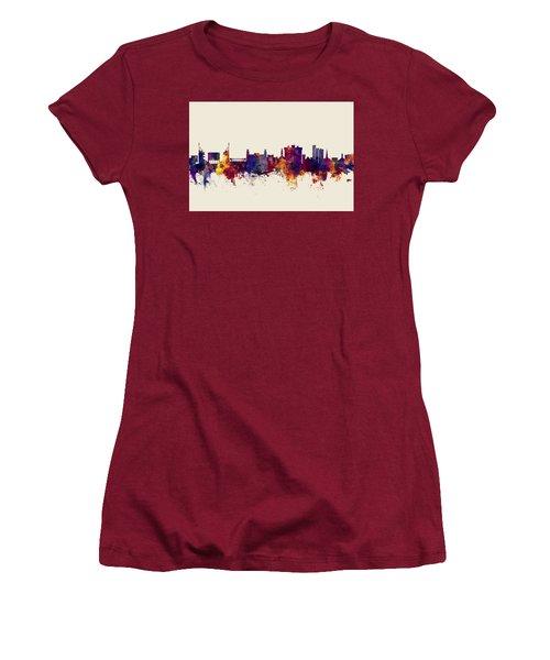 Women's T-Shirt (Junior Cut) featuring the digital art Fayetteville Arkansas Skyline by Michael Tompsett