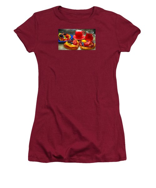 Fruit Desserts And Cup Of Coffee Women's T-Shirt (Athletic Fit)