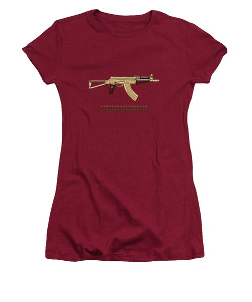 Gold A K S-74 U Assault Rifle With 5.45x39 Rounds Over Red Velvet   Women's T-Shirt (Junior Cut) by Serge Averbukh