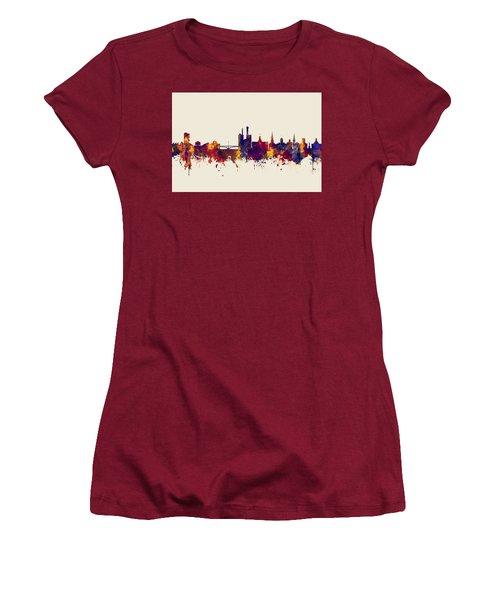 Women's T-Shirt (Junior Cut) featuring the digital art Iowa City Iowa Skyline by Michael Tompsett