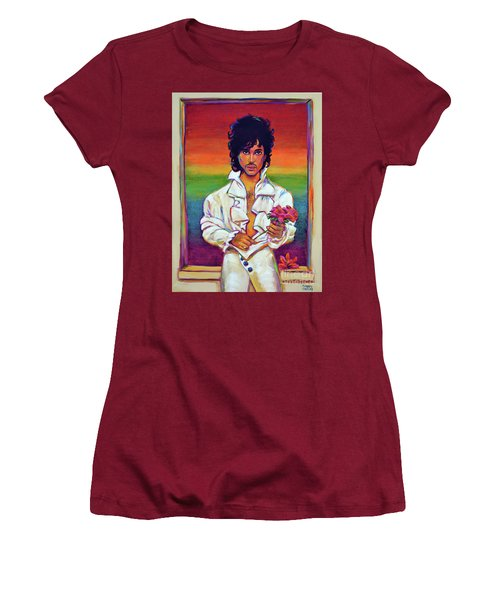 Women's T-Shirt (Junior Cut) featuring the painting Rainbow Child by Robert Phelps