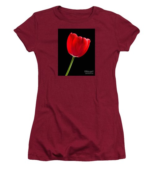 Women's T-Shirt (Athletic Fit) featuring the photograph Red Tulip No. 1  - By Flower Photographer David Perry Lawrence by David Perry Lawrence