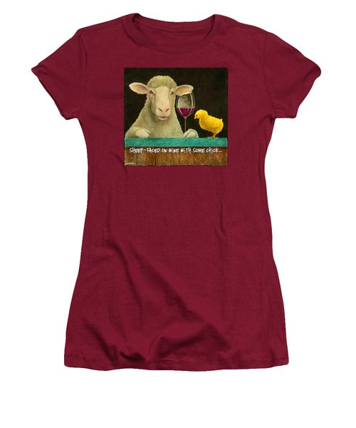 Sheep Faced On Wine With Some Chick... Women's T-Shirt (Junior Cut) by Will Bullas