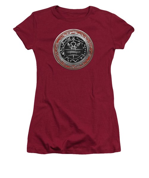 Silver Seal Of Solomon - Lesser Key Of Solomon On Red Velvet  Women's T-Shirt (Athletic Fit)
