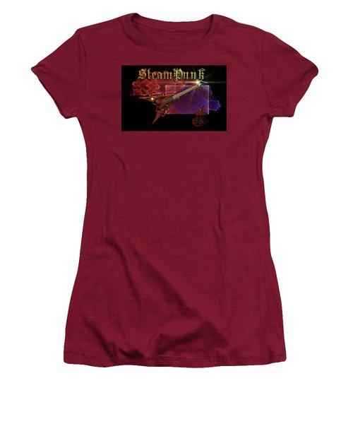 Women's T-Shirt (Junior Cut) featuring the digital art Steampunk Guitar by Louis Ferreira