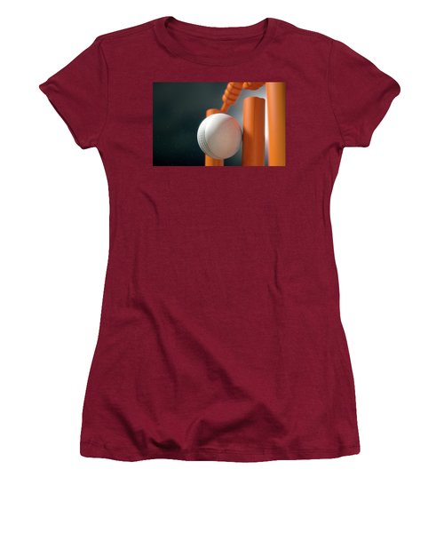 Cricket Ball Hitting Wickets Women's T-Shirt (Athletic Fit)