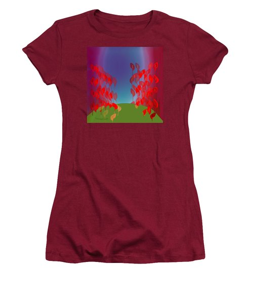 1218 - Red Flowers Women's T-Shirt (Junior Cut) by Irmgard Schoendorf Welch
