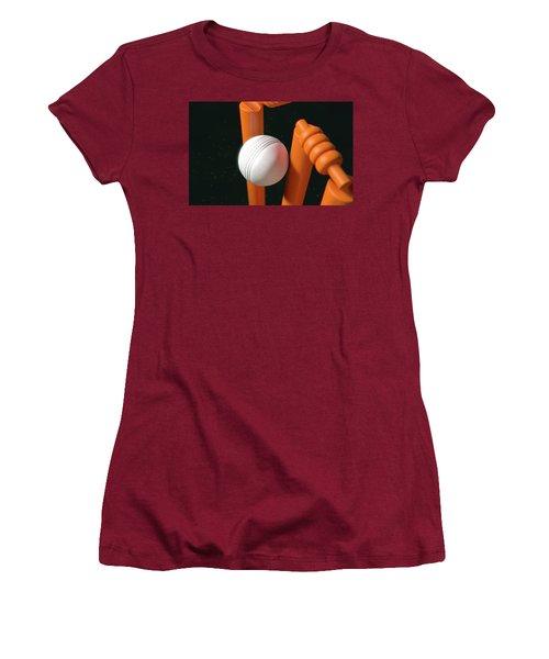 Cricket Ball Hitting Wickets Women's T-Shirt (Junior Cut) by Allan Swart