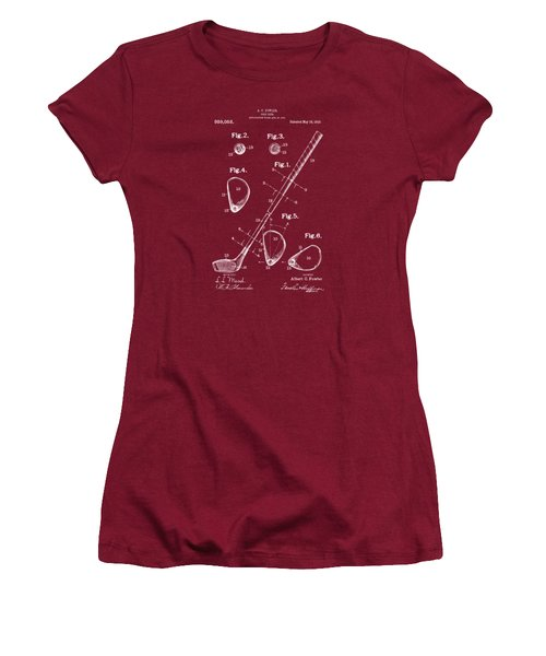 Women's T-Shirt (Junior Cut) featuring the drawing 1910 Golf Club Patent Artwork Red by Nikki Marie Smith