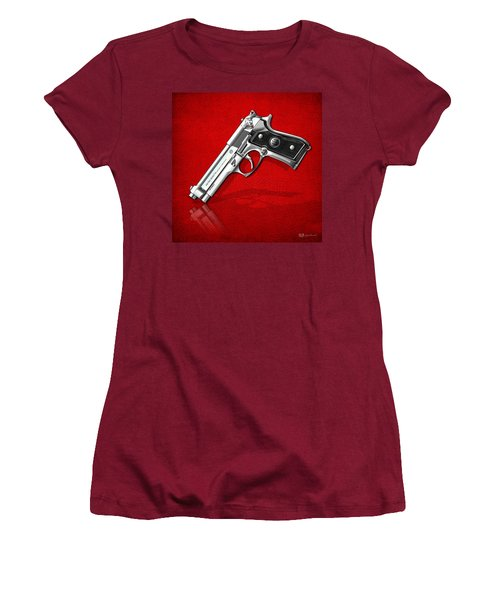 Beretta 92fs Inox Over Red Leather  Women's T-Shirt (Junior Cut) by Serge Averbukh