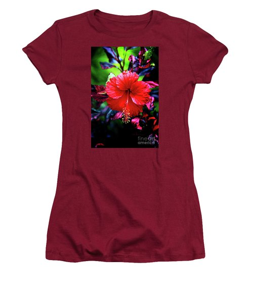 Red Hibiscus 2 Women's T-Shirt (Junior Cut) by Inspirational Photo Creations Audrey Woods