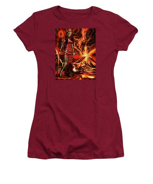 Women's T-Shirt (Junior Cut) featuring the painting The Goodess Pele Of Hawaii by James Christopher Hill
