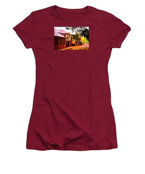 A Bicyclist On English Lane Women's T-Shirt (Athletic Fit)