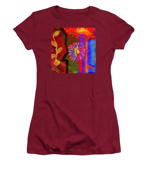 Women's T-Shirt (Junior Cut) featuring the painting A Flower For You by Angela L Walker