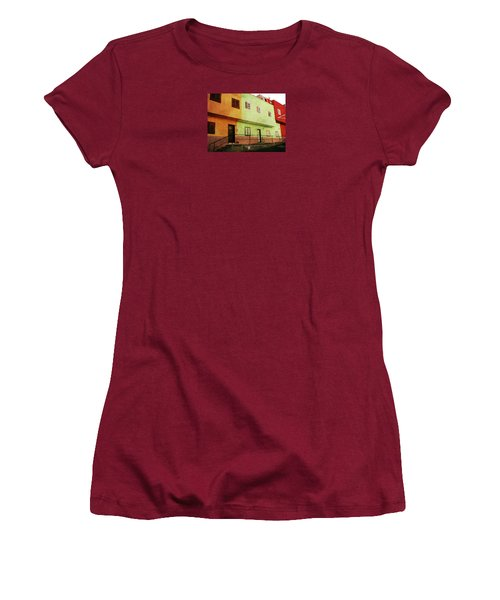Women's T-Shirt (Athletic Fit) featuring the photograph Alcala Orange Green Red Houses by Anne Kotan