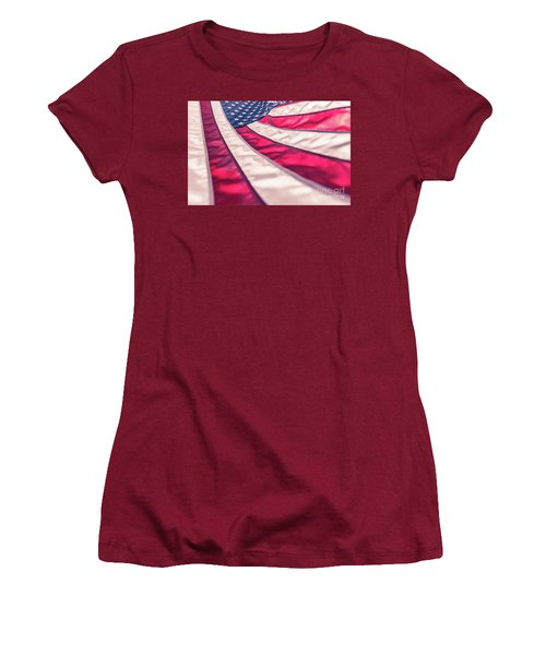Women's T-Shirt (Athletic Fit) featuring the photograph American Flag In Red White Stripe,stars And Blue Symbolic Of Pat by Jingjits Photography
