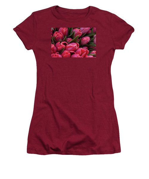 Amsterdam Red Tulips Women's T-Shirt (Athletic Fit)