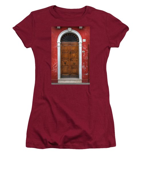 an old wooden door in Italy Women's T-Shirt (Athletic Fit)