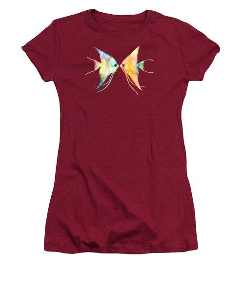 Angelfish Kissing Women's T-Shirt (Junior Cut) by Hailey E Herrera