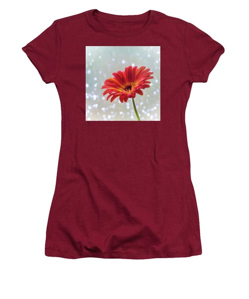 Women's T-Shirt (Junior Cut) featuring the photograph April Showers Gerbera Daisy Square by Terry DeLuco