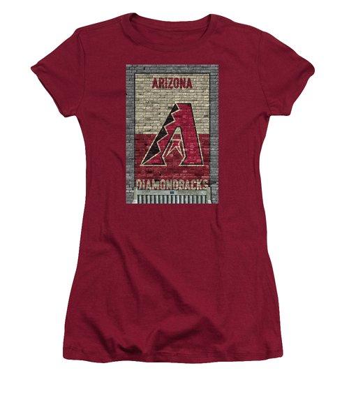 Arizona Diamondbacks Brick Wall Women's T-Shirt (Junior Cut) by Joe Hamilton