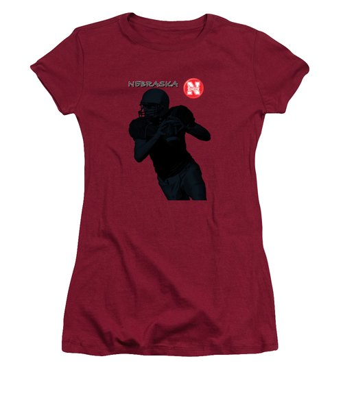 Women's T-Shirt (Junior Cut) featuring the digital art Nebraska Football by David Dehner