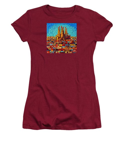 Barcelona Abstract Cityscape - Sagrada Familia Women's T-Shirt (Athletic Fit)