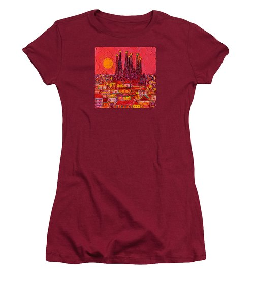 Barcelona Moon Over Sagrada Familia - Palette Knife Oil Painting By Ana Maria Edulescu Women's T-Shirt (Athletic Fit)