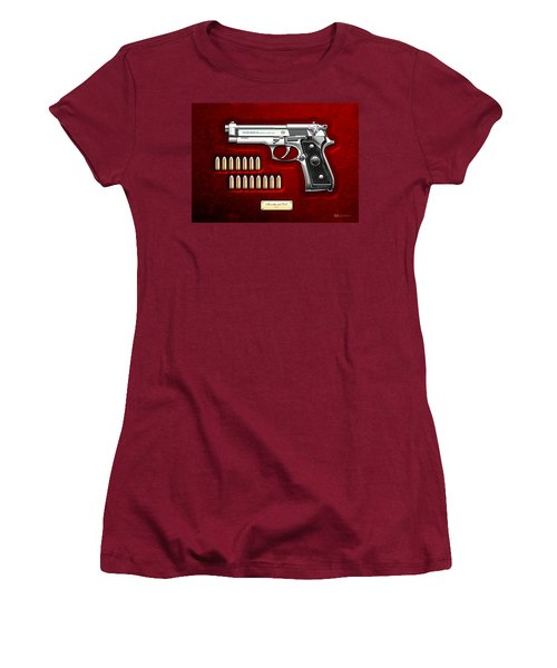 Beretta 92fs Inox Over Red Velvet Women's T-Shirt (Junior Cut) by Serge Averbukh
