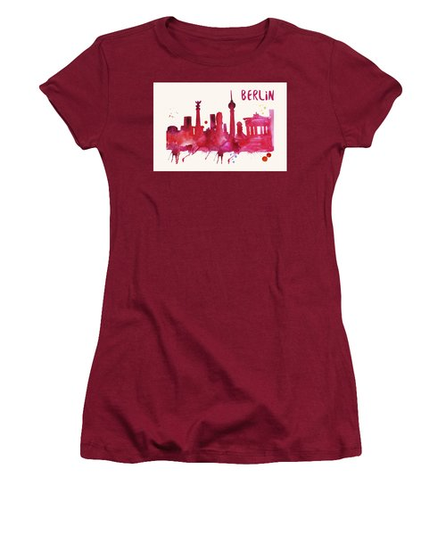 Berlin Skyline Watercolor Poster - Cityscape Painting Artwork Women's T-Shirt (Athletic Fit)