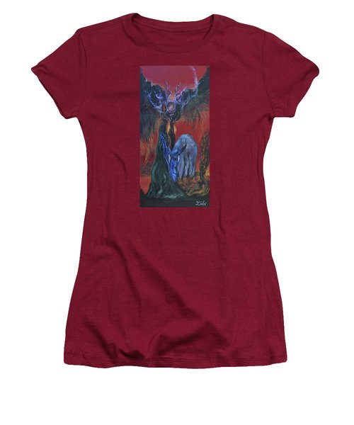 Women's T-Shirt (Junior Cut) featuring the painting Blackberry Thorn Psychosis by Christophe Ennis
