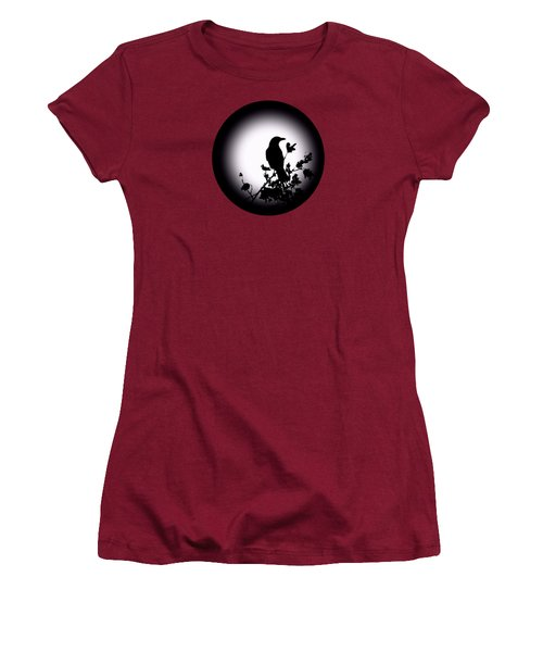 Women's T-Shirt (Junior Cut) featuring the photograph Blackbird In Silhouette  by David Dehner