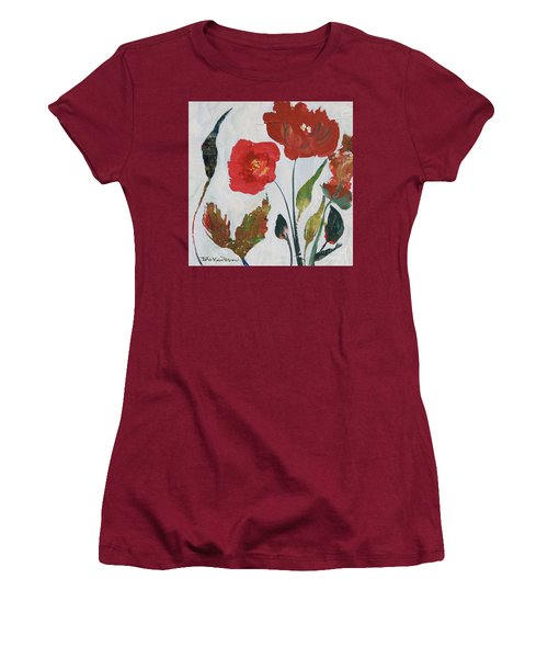 Women's T-Shirt (Athletic Fit) featuring the painting Bold Blooms by Robin Maria Pedrero