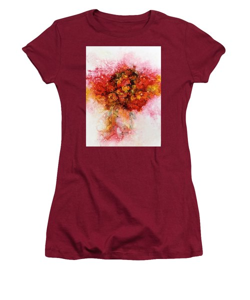 Bouquet In Red Women's T-Shirt (Athletic Fit)