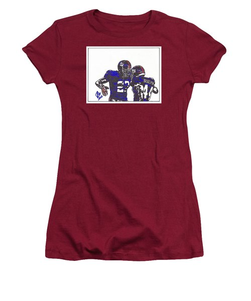 Women's T-Shirt (Junior Cut) featuring the drawing Brandon Jacobs And Ahmad Bradshaw by Jeremiah Colley